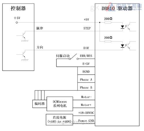 db810驱动器与dcm5xxxx系列电机的接线图