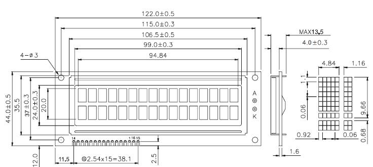 交直流耐压绝缘测试仪1602字符点阵lcd显示屏